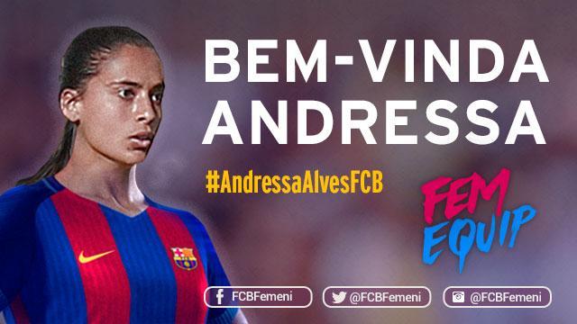 Barcelona anuncia a Andressa Alves como nuevo fichaje