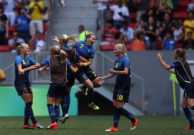 Las jugadoras suecas celebran su paso a semifinales.
